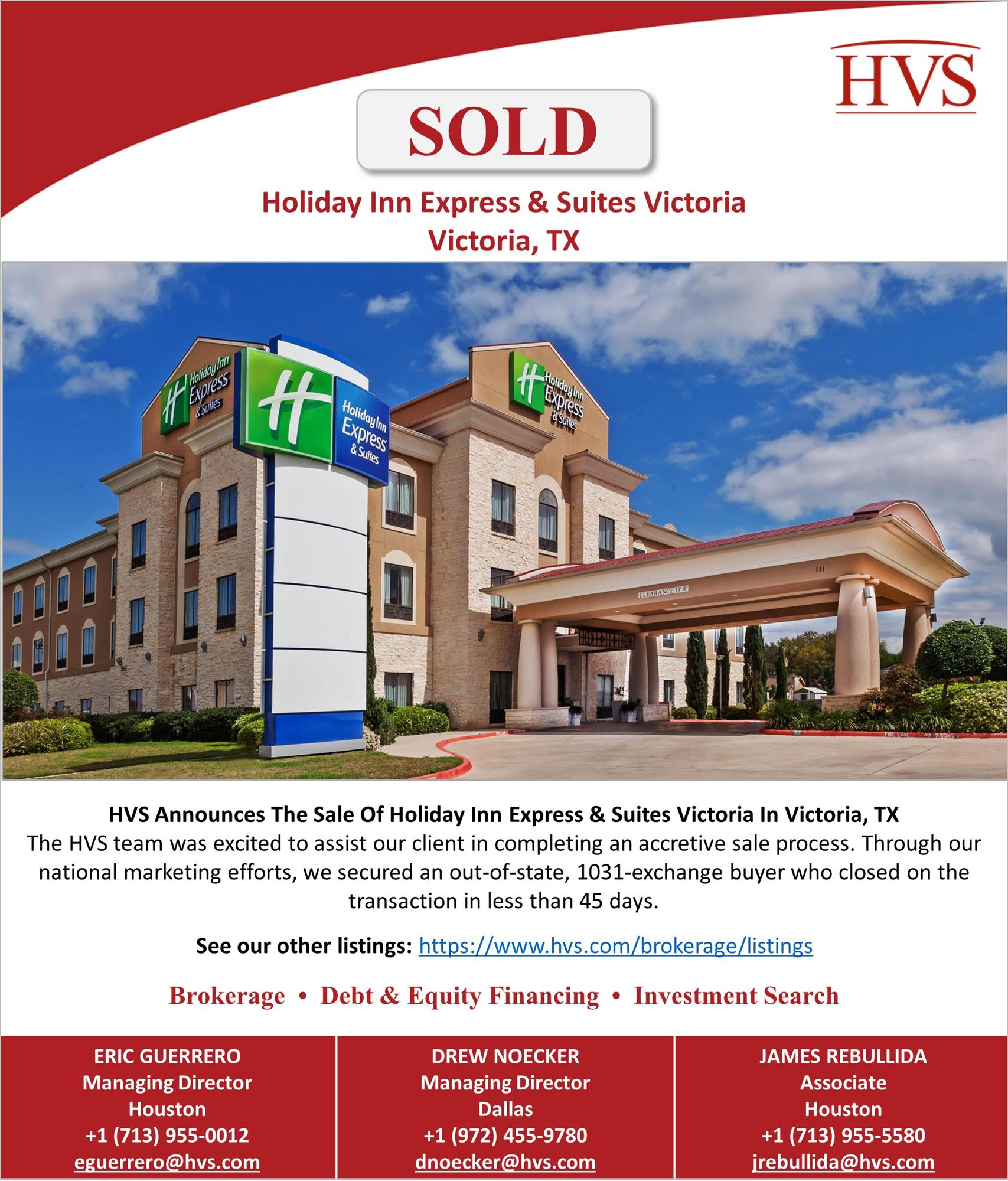 HVS | HVS Brokerage & Advisory Announces Sale of Holiday Inn Express